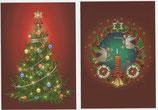 クリスマスカード2×2枚セット  ツリー&天使リース 10018 日本語