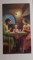 ご絵 ミニ 7×4センチ 食事の祝福(聖家族)E-1 紙裏白