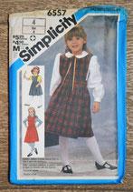 Pochette patron couture Simplicity 6557 - Robe chasuble et blouse fille 4 ans