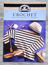 Fiche crochet DMC 11607-1 - Pull rayé marin et chapeau