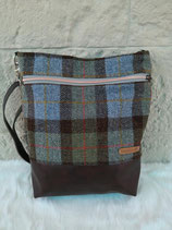 Shopper aus Harris Tweed (karo grün-blau)
