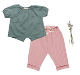 Bluse Julia (seagreen) und Hose Marla (dusty rose) 3-6M