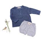 Shirt Lenz (blau) und Bloomer Eva (getupft) 3-6M