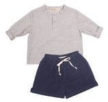 Shirt Lenz light blue stripe) und Short Maxi (navy) 12-18M