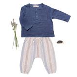Shirt Lenz (blue) und Hose Mio (azul stripe) 3-6M