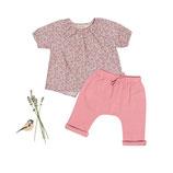 Bluse Julia (floret) und Hose Peter (powder pink) 3-6M