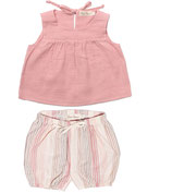 Top Sina (powder pink) & Bloomer Eva (rosé stripe) 3-6M