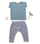 Jersey-Shirt Fritz (sea green) und Jersey-Pants Ben (blau-weiss geringelt) 6-12M