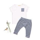 Jersey-Shirt Finn  (weiss) und Jersey-Pants Ben (geringelt) 6-12M
