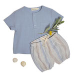 Shirt Thilo(sky blue) und Bloomer Eva (azul stripe) 3-6M