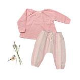 Bluse Anna & Pants Mio (rosé stripe) 3-6M