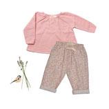 Bluse Anna (powder pink) und Hose Marla (floret) 3-4J
