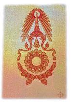 タイ 王室 紋章 エンブレム ステッカー Mサイズ (ホログラム ラメタイプ)  1枚 【タイ雑貨 Thailand Sticker】