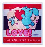 タイぞう ラブ タイランド ステッカー [LOVE!(だいすき!)/メタル調] 6×6cm t1 (THAI-ZOU sticker)