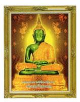 BUDDHA 仏像 坐禅 アジアン ステッカー  エメラルド×ゴールド Mサイズ(11×8.5cm) 1枚 【タイ雑貨 Thailand Sticker】
