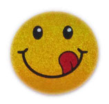【SSサイズ】 スマイリー ステッカー ゴールド ラメタイプ (SMILEY sticker / Gold) 3.6cm × 3.6cm SSサイズ typeB   【タイ雑貨 Thailand Sticker】