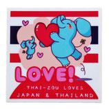 タイぞう ラブ ジャパン & タイランド ステッカー [LOVE!(だいすき!)/ホワイト] 6×6cm t4 (THAI-ZOU sticker)