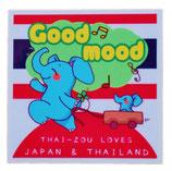 タイぞう ラブ ジャパン & タイランド ステッカー [Good mood(ルンルン)/ホワイト] 6×6cm t6 (THAI-ZOU sticker)