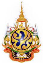 タイ 王室 エンブレム (紋章) ステッカー Mサイズ (スタンダード タイプ)【タイ雑貨 Thailand Sticker】