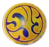 タイ 王室 エンブレム (紋章) ステッカー Sサイズ (ラメタイプ) ロイヤルリング丸型 1枚【タイ雑貨 Thailand Sticker】