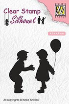 sil046 Clearstamp: Jongen en meisje met ballon