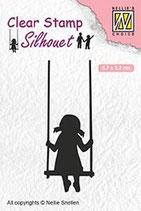 sil045 Clearstamp: schommelend Meisje