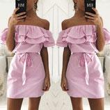 Offshoulder Dress Babyblue/pink