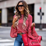 Trendy Casual Red\White Shirt