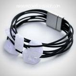 CUBE armband - 5 mini cubes White shiny