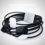 CUBE armband - 5 mini cubes Black/White shiny