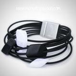 CUBE armband - 5 mini cubes Black/White shiny