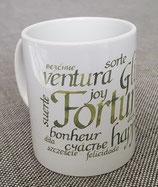 Kaffeetasse mit Fortuna oder Herz Motiv