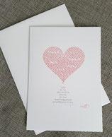 Hochzeitskarte mit Herz und Spruch