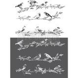 """redesign Motiv Transfer """" Birds & Berries"""" schwarz und weiß"""