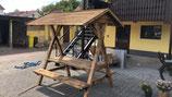 Bierzeltgarnitur mit Dach Kiefer geflammt Massivholz