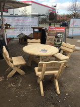 Sitzgarnitur Eiche Softline gefräst Massivholz 5-teilig runder Tisch