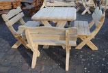 Sitzgarnitur Eiche Massivholz 5-teilig 120 cm x 120 cm