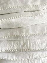 Magic Linen Leinen Kissenbezug mit Pompom Einfassung weiss