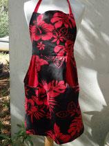 Tablier avec bavette réversible en tissu tahitien rouge et noir