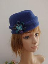 Calot en laine à béret vintage bleu