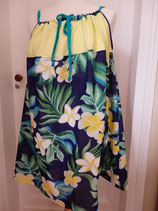 Robe à bretelles tissu tahitien feuillage
