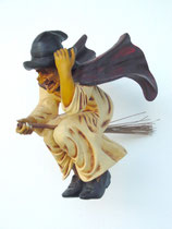 Réplica de bruja con escoba para decorar Halloween