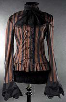 Steampunk Bluse gestreift braun