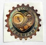 I Love Steampunk Aufkleber deckend