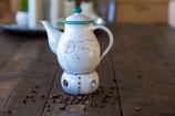 Kaffeekanne mit Stövchen und Filter Pusteblume