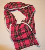 Schal aus pinkem Schottenstoff mit Spitzenband Abschluss