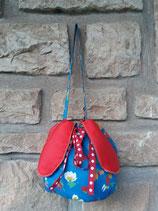 Bourse Marguerite bleue et rouge