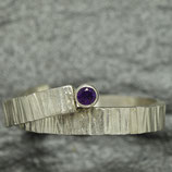 Silver Hammered Ring with Amethyst