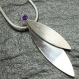Silver Leaf Pendant with Amethyst