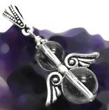 Bergkristall, kleiner runder Engel Anhänger, Schutzengel Kettenanhänger